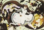 absurdres alice_(pandora_hearts) alice_(wonderland) alice_in_wonderland animal_ears cheshire_cat cosplay crossover emily_(pandora_hearts) gilbert_nightray highres long_hair male oz_bezarius pandora_hearts parody scan sharon_rainsworth watermark
