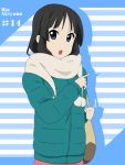 bag black_eyes black_hair character_name ikari_manatsu jacket k-on! long_hair open_mouth pointing scarf winter_clothes