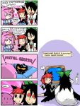 4koma :3 birthday box comic drawfag finnish gas_mask gift heart heart_in_mouth kaenbyou_rin komeiji_koishi komeiji_satori metal_gear metal_gear_solid multiple_girls playstation psycho_mantis red_eyes reiuji_utsuho setz sweatdrop television third_eye touhou translated