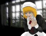 absurdres blonde_hair blue_eyes dress hat highres iamsare necktie short_hair solo tears umineko_no_naku_koro_ni yasu_(umineko)