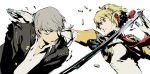 android arc_system_works battle blonde_hair blue_eyes casing_ejection glasses grey_eyes grey_hair highres narukami_yuu official_art persona persona_3 persona_4 persona_4:_the_ultimate_in_mayonaka_arena robot_joints school_uniform shell_casing short_hair simple_background sword torn_clothes weapon