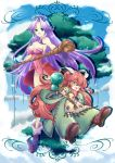 1girl :d androgynous angela breasts cleavage crossover feathers gem green_eyes hair_ornament hairpin happy hat highleg highleg_leotard highres imahia large_breasts legs leotard long_hair open_mouth oversized_clothes popoie purple_hair red_hair redhead robe seiken_densetsu seiken_densetsu_2 seiken_densetsu_3 shoes smile thighs wand yellow_eyes