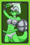 arm_raised armor belt caracol forked_tongue green green_eyes green_skin helmet lizardman looking_at_viewer monster_girl navel pointy_ears shield solo sword tagme tail tongue weapon