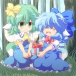 animal_ears ascot blue_dress blue_hair bow box chibi cirno closed_eyes daiyousei dog_ears dog_tail dress eyes_closed forest gift gift_box green_eyes green_hair hair_bow holding holding_gift kemonomimi_mode multiple_girls nature nullpooo open_mouth short_hair sitting smile tail touhou v_arms