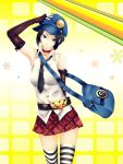 bag belt belt_buckle black_hair blue_eyes choker elbow_gloves gloves hat highres infinote mari_(persona) marie_(persona_4) messenger_bag necktie persona persona_4 persona_4_the_golden plaid plaid_skirt pleated_skirt short_hair shoulder_bag skirt sleeveless sleeveless_shirt solo striped striped_gloves striped_legwear striped_thighhighs thigh-highs thighhighs