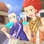 2boys :p blue_hair food green_eyes highres ice_cream isa_(kingdom_hearts) kingdom_hearts kingdom_hearts_birth_by_sleep lea_(kingdom_hearts) multiple_boys okitune-sama red_hair redhead scarf tongue