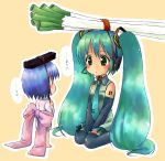 2girls aqua_hair bare_shoulders binchou-tan binchou-tan_(character) binchou-tan_(cosplay) black_legwear blue_eyes blue_hair blush bow coal cosplay crossover detached_sleeves eye_contact green_eyes hatsune_miku headset highres large_bow long_hair looking_at_another multiple_girls necktie object_on_head short_hair simple_background sitting spring_onion suppy tareme thigh-highs translated twintails v_arms very_long_hair vocaloid wariza zettai_ryouiki