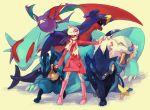 beanie blue_hair boots coat crobat dragon garchomp hat hikari_(pokemon) hikari_(pokemon)_(remake) holding holding_poke_ball kneehighs long_hair lucario luxray poke_ball pokemon pokemon_(game) pokemon_dppt pokemon_platinum salamence scarf thighhighs tusks walrein white_legwear winter_clothes yuko_(ymol)