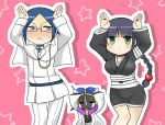 :x bad_id badge black_hair bleach blush braid bunny_pose caramelldansen chibi dancing fukutaichou_badge glasses green_eyes haori ishida_uryuu japanese_clothes kurotsuchi_mayuri kurotsuchi_nemu lilysisters long_hair parody single_braid sweatdrop taichou_haori