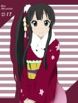 alternate_hairstyle asymmetrical_hair bikini black_eyes black_hair character_name ermine hair_ornament ikari_manatsu japanese_clothes k-on! kimono long_hair looking_at_viewer side_ponytail smile swimsuit
