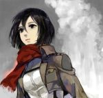 1girl black_eyes black_hair bust jacket long_sleeves mikasa_ackerman scarf shingeki_no_kyojin short_hair solo