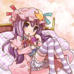 bed bloomers blush crescent food fruit grapes hair_ribbon hat long_hair mayuge_inu on_bed patchouli_knowledge purple_eyes purple_hair ribbon solo striped striped_legwear striped_thighhighs thigh-highs thighhighs touhou violet_eyes