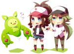 baseball_cap blue_eyes blush brown_hair chibi drooling grey_hair hat long_hair n_(pokemon) nervous niwako open_mouth pants payot pokemon pokemon_(game) pokemon_black_and_white pokemon_bw ponytail reuniclus shorts sparkle spoon sweatdrop touko_(pokemon) vest wristband