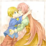 1boy 1girl blonde_hair blue_eyes dress green_eyes hug jinrui_wa_suitai_shimashita joshu-san long_hair open_mouth pink_hair sakurage short_hair shorts star sweatdrop very_long_hair watashi_(jintai)