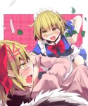 2girls anger_vein apron blonde_hair blue_dress culter dress fang feathers flower gengetsu hair_pull highres maid maid_headdress mugetsu multiple_girls pink_dress pointy_ears slit_pupils smile sweatdrop touhou touhou_(pc-98) yellow_eyes you_gonna_get_raped