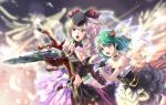 breasts cloud deeple dress epic flying gloves green_hair hat long_hair macross macross_frontier macross_frontier:_sayonara_no_tsubasa mecha microphone ranka_lee reen_hair sheryl_nome singing tattoo yf-29
