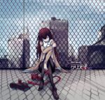 arm_grab blue_eyes boots brown_hair building dr_pepper dreamcatcher fence jacket legwear_under_shorts long_hair makise_kurisu necktie pantyhose shorts single_shoe sitting skyscraper solo steins;gate