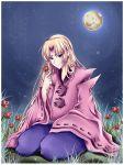blonde_hair blue_eyes capcom flower highres japanese_clothes long_hair midna01 moon night night_sky okami ookami_(game) seiza signature sitting sky smile solo star star_(sky) starry_sky ushiwakamaru very_long_hair