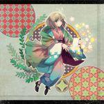 ao_no_exorcist blonde_hair carolsiya green_eyes japanese_clothes kimono letterboxed moriyama_shiemi shawl short_hair solo star
