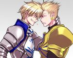 anger_vein armor blonde_hair blue_eyes earrings face-to-face fate/prototype fate/stay_night fate_(series) genderswap gilgamesh grin heart ironmaskbear jewelry low_res male multiple_boys red_eyes saber_(fate/prototype) saver smile