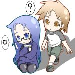 blue_eyes blue_hair brown_eyes brown_hair child dress glasses pantyhose shorts tsukusun