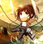 1girl belt bloodink boots bread bread_in_mouth brown_eyes brown_hair chibi chimney dual_wielding food jacket ponytail sasha_browse shingeki_no_kyojin solo sword three-dimensional_maneuver_gear weapon