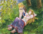 cuffs embarrassed grass green_eyes horn horns hoshiguma_yuugi leaf leaves lying mizuhashi_parsee nature open_mouth red_eyes sandals shiroaisa short_hair short_sleeves sitting smile touching touhou traditional_media tree watercolor_(medium) wince