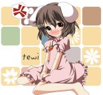 animal_ears bad_id barefoot blush brown_eyes brown_hair bunny_ears carrot character_name dress fang hikobae inaba_tewi jewelry necklace rabbit_ears short_hair solo tears touhou