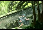 1girl barefoot blue_hair cirno frog jumping letterboxed nature short_hair solo stream touhou water water_wheel wings yasumo_(artist) yasumo_(kuusouorbital)