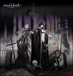 cloak crow gloves graveyard highres incense knife necromancer pixiv_fantasia pixiv_fantasia_4 skeleton smoke tombstone un white_hair