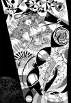 breasts cleavage corset dress fan gap garters high_heels highres monochrome parasol shoes spell_card spellcard takatora thigh-highs thighhighs touhou umbrella yakumo_yukari