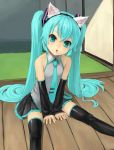 :o animal_ears aqua_eyes aqua_hair cat_ears hatsune_miku kuroko_(piii) sitting solo thigh-highs thighhighs vocaloid zettai_ryouiki