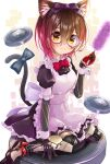 1girl absurdres alternate_costume android animal_ears apron black_dress blush bow brown_eyes brown_hair cat_ears chocomarybadend dress duster enmaided glasses gradient_hair hair_bow highres holding_duster hololive kemonomimi_mode maid maid_apron mechanical_arms mechanical_legs multicolored_hair pink_hair purple_bow red_bow roboco-san roomba round_eyewear science_fiction short_hair sitting solo virtual_youtuber wariza wrist_cuffs