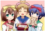 blue_eyes blue_hair blush bow brown_hair chocolate closed_eyes crossdressing engrish gift green_eyes hair_ornament hairband hairclip heart holding holding_gift incoming_gift kinoshita_hideyoshi komeko5 ranguage ribbon school_uniform short_hair smile trap tsuchiya_kouta valentine yoshii_akihisa