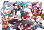 2girls 6+boys acaallodola antonio_lopez barnaby_brooks_jr blonde_hair blue_fire blue_rose_(tiger_&_bunny) cape dragon_kid fire fire_emblem_(tiger_&_bunny) headwear_removed helmet helmet_removed huang_baoling ivan_karelin kaburagi_t_kotetsu karina_lyle keith_goodman lunatic_(tiger_&_bunny) multiple_boys multiple_girls nathan_seymour origami_cyclone rock_bison shuriken superhero tiger_&_bunny yuri_petrov