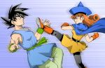 battle boots cape crossover dragon_ball dragon_ball_z dragon_quest dragon_quest_iv dragonball dragonball_z dress earrings gloves hat jewelry kicking long_hair muscle pantyhose poki_a red_eyes red_hair redhead son_goku son_gokuu