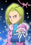 blonde_hair blue_eyes blush dragon_ball dragon_ball_z dragonball dragonball_z earrings gift holding holding_gift incoming_gift jewelry poki_a short_hair snow tsundere turtleneck valentine