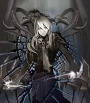 character_request grey_eyes hades lord_of_vermilion male pale_skin sakumi skirt skull solo white_hair