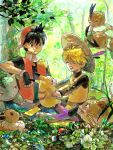 1boy 1girl androgynous backwards_hat black_hair blonde_hair closed_eyes dodrio eevee flower forest hat holding ivysaur k-mica nature pika_(pokemon) pikachu poke_ball pokemon pokemon_(creature) pokemon_special raticate red_(pokemon) reverse_trap smile straw_hat tegaki tomboy yellow_(pokemon)