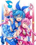 alternate_color armpits blue_eyes blue_hair blue_legwear bow brooch choker closed_eyes cosplay cure_melody cure_melody_(cosplay) earrings eyes_closed hair_ribbon hairband hand_holding heart holding_hands houjou_hibiki jewelry long_hair maeashi magical_girl midriff multiple_girls musical_note nishijima_waon pink_hair pointing precure ribbon smile star suite_precure thigh-highs thighhighs twintails what_if