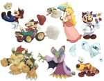 blonde_hair blooper bowser brown_hair cackletta character_request cloud crown dr._mario dress drugs earrings elbow_gloves facial_hair gloves go_kart green_eyes hat highres horns jewelry koki_(pixiv) lakitu long_hair luma mario mario_&_luigi mario_kart mustache nintendo parasol perry pill princess_peach red_eyes red_hair simple_background super_mario_bros. super_mario_galaxy umbrella virus virus_(dr._mario) wiggler