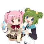 2girls bent_over blue_eyes bow bowtie chitose_yuma green_hair hair_bobbles hair_ornament hair_ornaments hair_ribbon happy hoodie kaname_madoka kuro_chairo_no_neko long_sleeves mahou_shoujo_madoka_magica mahou_shoujo_oriko_magica multiple_girls open_mouth pink_eyes pink_hair ribbon school_uniform short_hair short_twintails skirt smile thighhighs transparent_background tupet twintails two_side_up white_background white_legwear