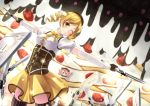 bad_id beret blonde_hair cake charlotte_(madoka_magica) corset detached_sleeves drill_hair dual_wielding fingerless_gloves food fruit gloves gun hat kino_(kino_buro) magical_girl magical_musket mahou_shoujo_madoka_magica pleated_skirt puffy_sleeves skirt solo strawberry thigh-highs thighhighs tomoe_mami twin_drills vertical-striped_legwear vertical_stripes weapon wink witch's_labyrinth witch's_labyrinth yellow_eyes zettai_ryouiki