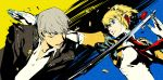 android arc_system_works battle blonde_hair blue_eyes casing_ejection glasses grey_eyes grey_hair highres narukami_yuu official_art persona persona_3 persona_4 persona_4:_the_ultimate_in_mayonaka_arena robot_joints school_uniform shell_casing short_hair sword torn_clothes weapon