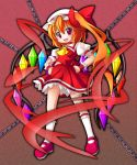 ascot blonde_hair bow chain chains fang flandre_scarlet frills hair_bow hands_on_hips hat kneehighs long_hair mary_janes open_mouth red_eyes shinjitsu shoes side_ponytail skirt skirt_set slit_eyes slit_pupils smile solo touhou wings wrist_cuffs