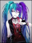 1055 1girl alternate_color alternate_costume alternate_hair_color aqua_hair arm_at_side belt black_border border bracelet checkered choker collar colored_eyelashes cross cross_earrings detached_sleeves earrings facing_viewer fingernails flat_chest gradient gradient_hair grey_background grey_eyes grin hair_ornament hairclip hatsune_miku heterochromia highres jewelry latin_cross leather_choker long_fingernails long_hair looking_to_the_side multicolored_hair nail_art necklace pale_skin pink_eyes purple_hair red_shirt ringed_eyes sharp_teeth shirt simple_background single_detached_sleeve single_earring skull_necklace sleeveless sleeveless_shirt smile solo spiked_bracelet spiked_collar spikes striped studded_belt studded_bracelet studs teeth test_tube tsurime twintails two-tone_hair upper_body v-shaped_eyebrows very_long_hair vocaloid waistcoat x_hair_ornament