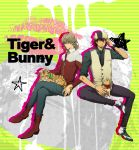 barnaby_brooks_jr blonde_hair blue_eyes boots brown_eyes brown_hair bunny cabbie_hat chizuma facial_hair glasses hat highres jacket jewelry kaburagi_t_kotetsu male multiple_boys necklace necktie petting pettting rabbit red_jacket short_hair sitting stubble tiger tiger_&_bunny vest waistcoat