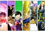 android_18 angry bardock black_hair blonde_hair blue_eyes blue_hair bottle car clenched_hand cloud column_lineup dragon_ball dragon_ball_z dragonball_z earrings fist green_eyes headband jeans jewelry mackenrow_1220 motor_vehicle muscle namek necklace open_mouth outdoors scouter smile son_gohan son_gokuu super_saiyan sword teeth torn_clothes tree trunks_(dragon_ball) vehicle water_bottle weapon