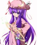 crescent dr._cryptoso english hair_ribbon hat hexagram highres lens_flare long_hair magic_circle nail_polish patchouli_knowledge puppet_string puppet_strings purple_eyes ribbon solo striped touhou violet_eyes