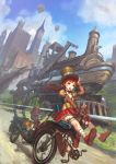 blue_eyes blush gun hand_holding hat holding_hands hot_air_balloon locomotive long_hair open_mouth original ponytail red_hair redhead robot shaonav sky steam_locomotive steampunk top_hat weapon